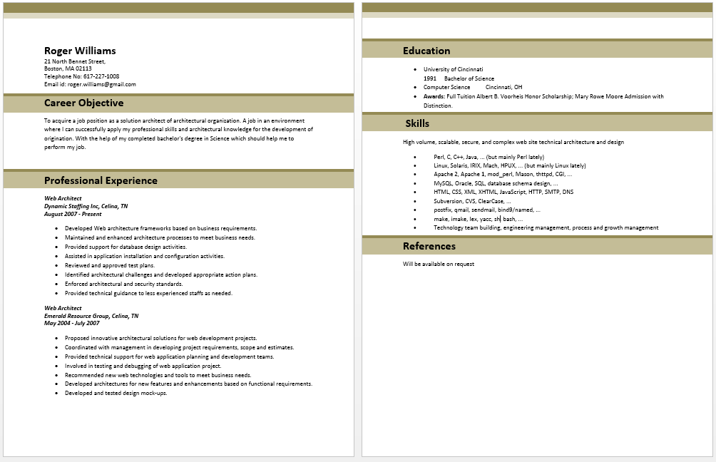 Web Developer Resume Sample Web Architect Resume  Architect Resume Samples  Pinterest