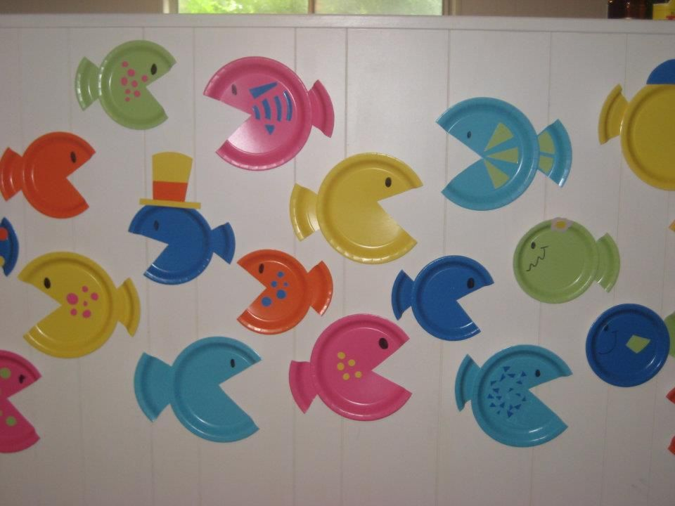 fish party decorations Target has bright paper plates for