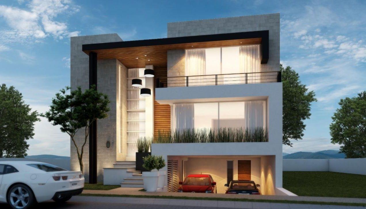 Fachadas con cochera subterranea ideas para el hogar en for Fachadas de casas modernas a desnivel