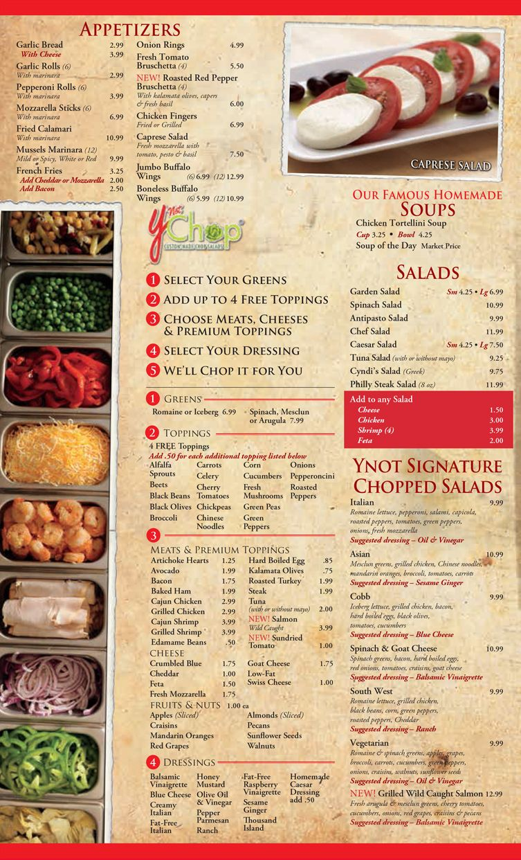 Full Menu Of Italian Food And Pizza Options Ynot Offers Our For Delivery To Norfolk Virginia Beach Chesapeake Dine In Carry Out