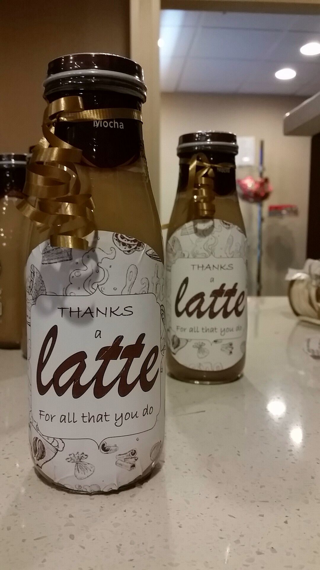 We added labels to frappocinno drinks and gave out during ...