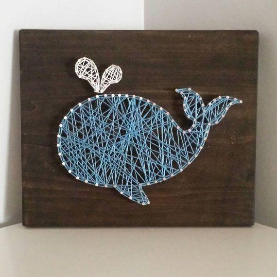 string art tableau en fils tendus motif baleine origami g o y m s. Black Bedroom Furniture Sets. Home Design Ideas