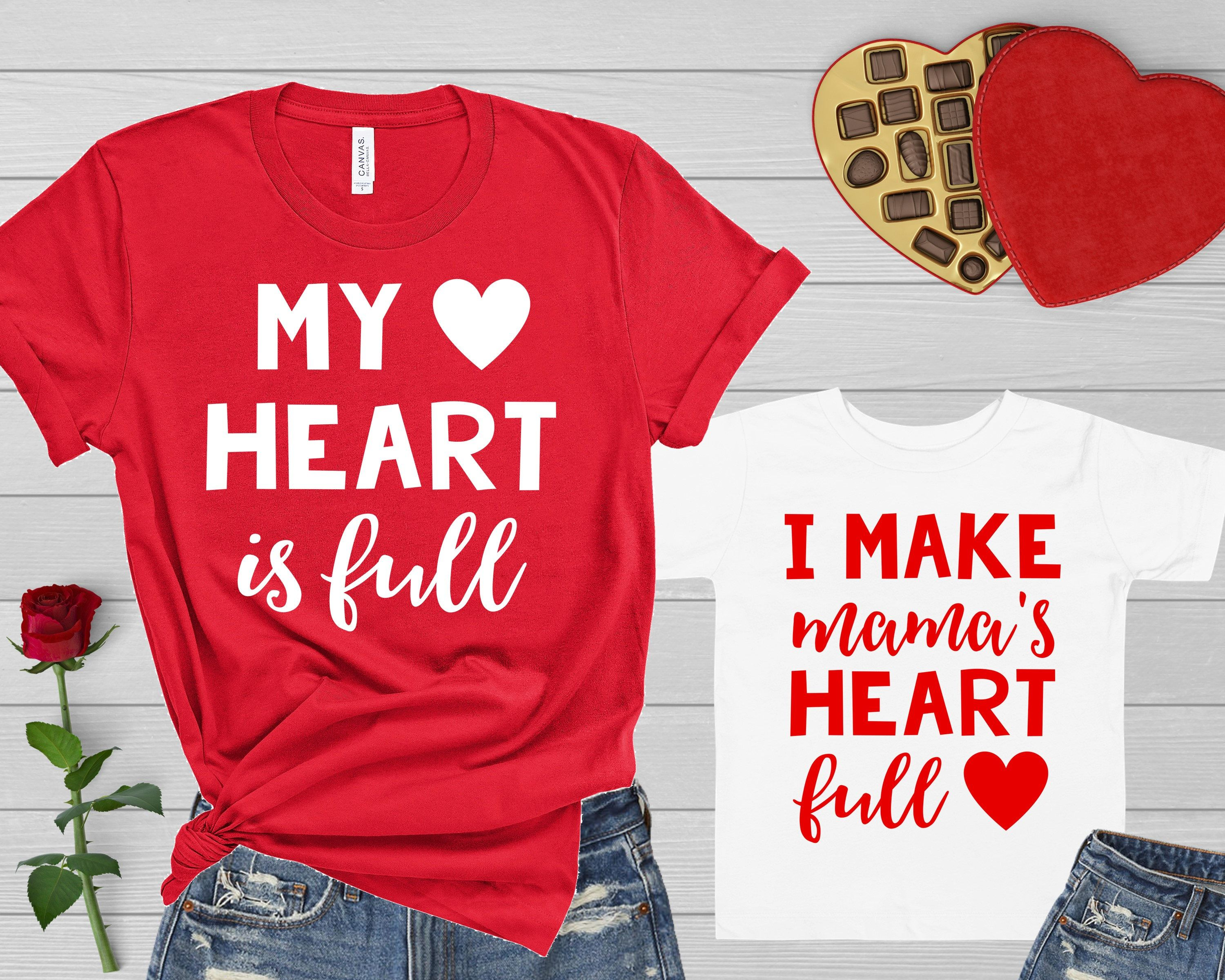 Mommy and me valentine shirts my heart is full i make mama