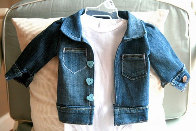 d12ebf77c3b8 Baby jeans jacket from old jeans sewing tutorial. Just wow!