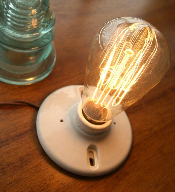 Good Vintage Ceramic Industrial Light Fixture With Bulb