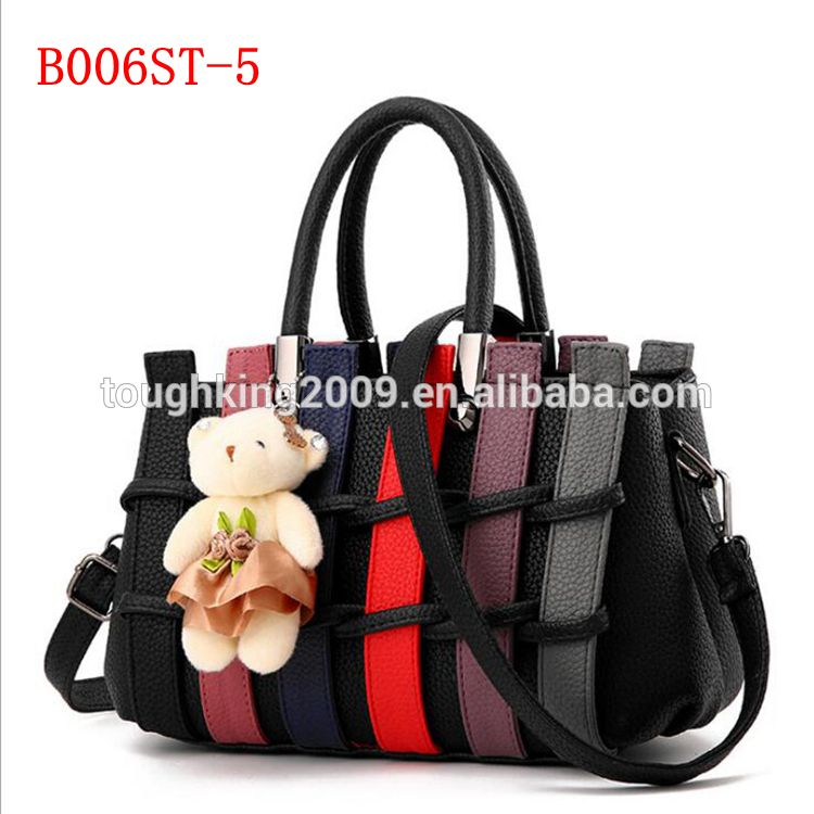 1bcc706b6042 China New Design Casual Woman Hand Bag 2017 Girls Hand Bag With Bear  Decoration 7 Colors