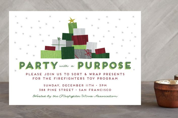 Party with a Purpose Holiday party invitation for more than drinks - holiday party invitation