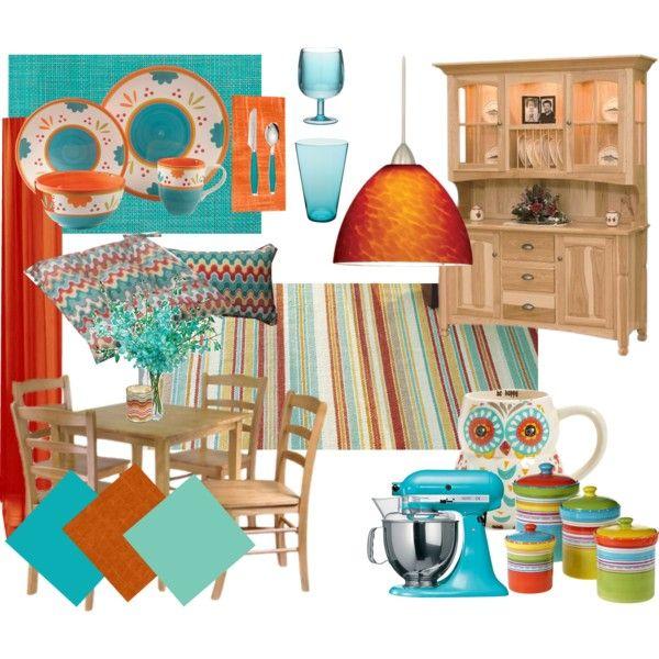 Captivating Turquoise U0026 Orange Kitchen/Dining Room Mood Board By Kathleensmith I On  Polyvore Featuring