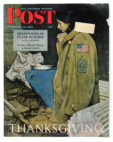 "Norman Rockwell. ""Thanksgiving"" Post Cover for Nov. 27, 1943. This study of a young woman saying grace over her simple meal amid the ruins of war made an effective Thanksgiving cover, one that touched a chord in many homes that November."