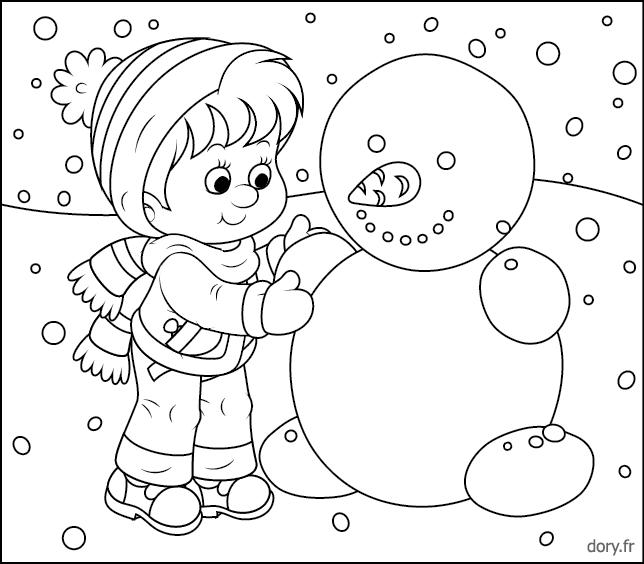 Un enfant et un bonhomme de neige coloriage pinterest bonhomme de neige bonhomme et neige - Bonhomme de neige a colorier ...