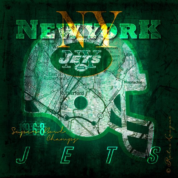 new york jets map print perfect gift christmas birthday anniversary unframed print
