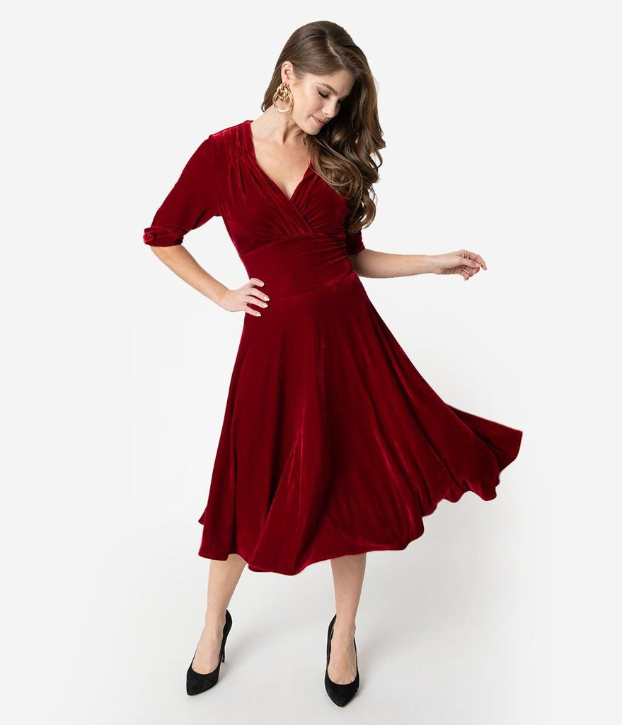 Unique Vintage 1950s Burgundy Red Velvet Delores Swing Dress With Sleeves In 2020 Dresses 1950s Fashion Dresses Swing Dress With Sleeves