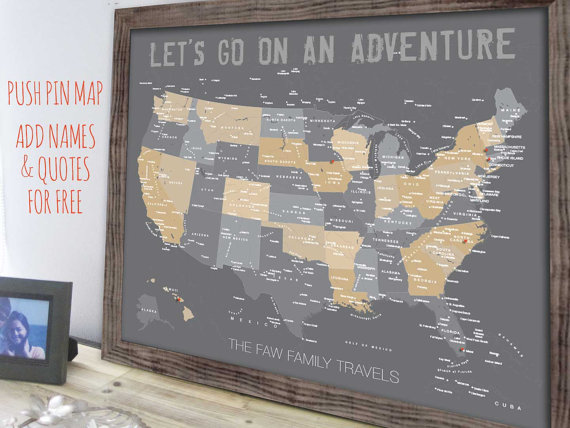 Push Pin Travel Map Us Push Pin Map Rustic Framed Map Girlfriend - Us-pin-map