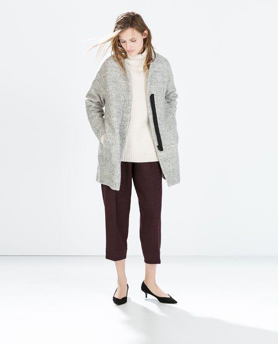 Zara Woman Zipped Boucle Coat Boucle Coat Outerwear Outerwear Women