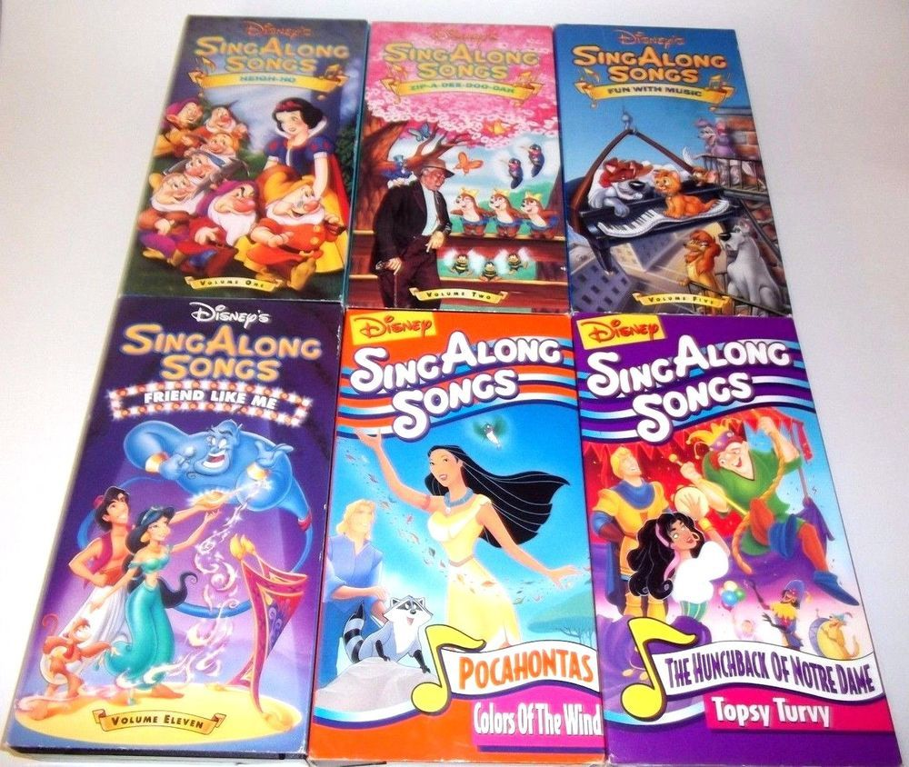 Lot Of 6 Disney Sing Along Songs Children S Vhs Aladdin Snow White Pocahontas Sing Along Songs Disney Songs Songs