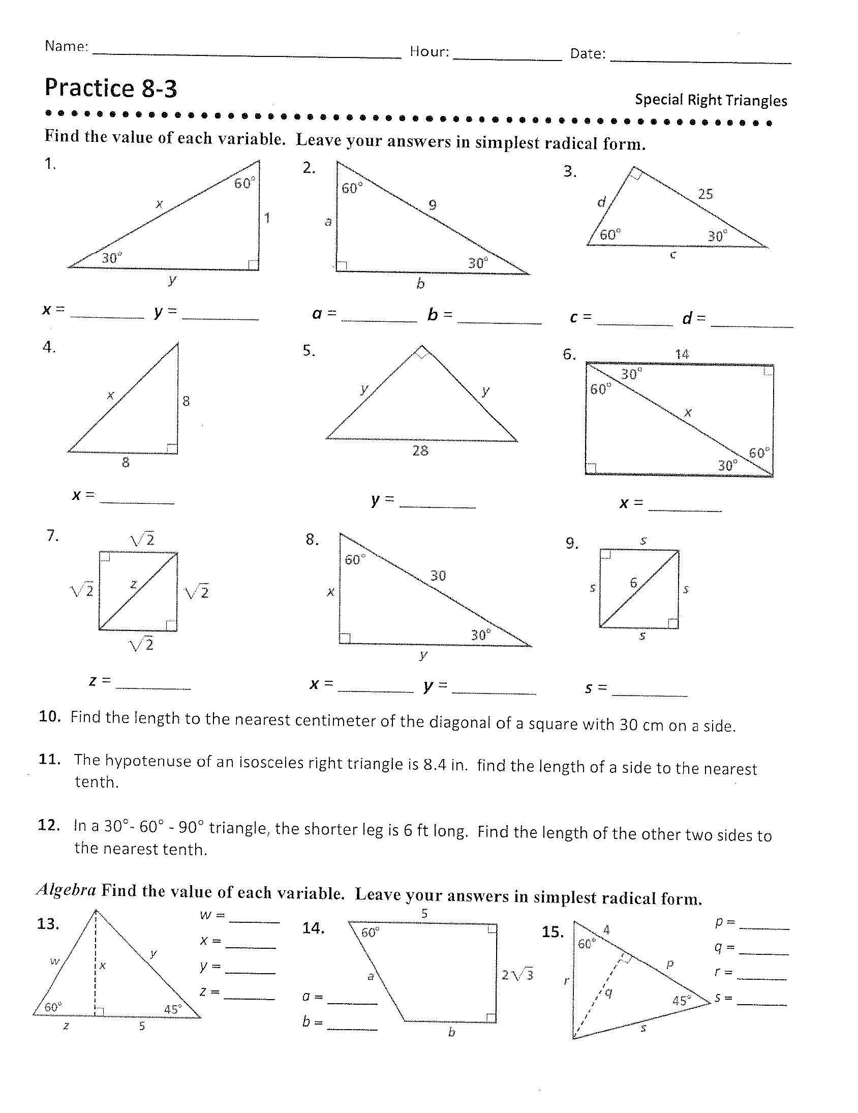 Special Right Triangles Practice Worksheet Special Right