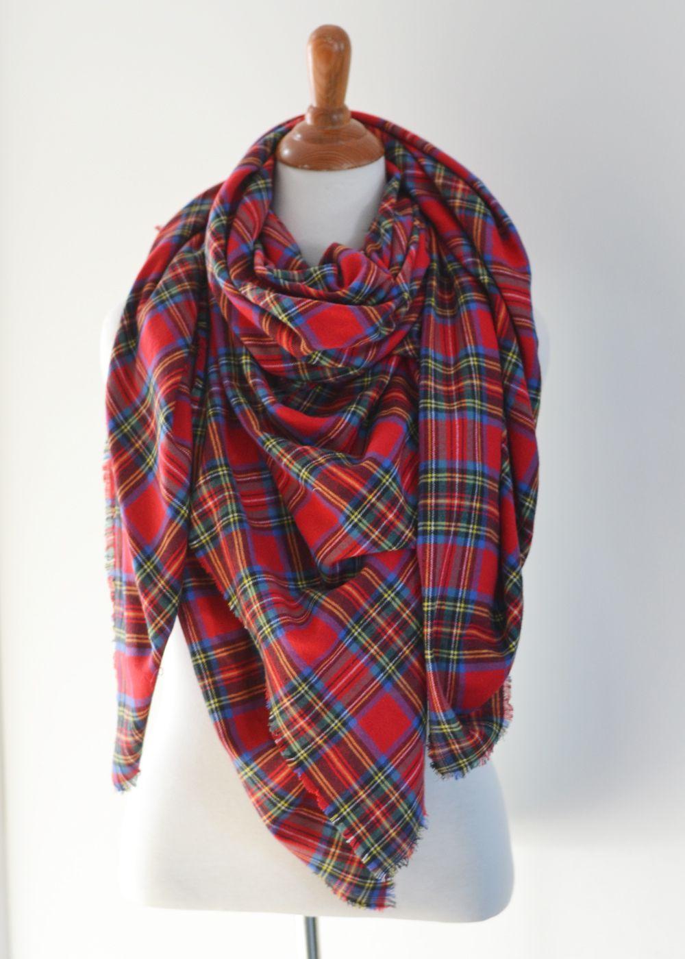 Make An Easy No Sew Diy Plaid Blanket Scarf Diy Scarf Diy