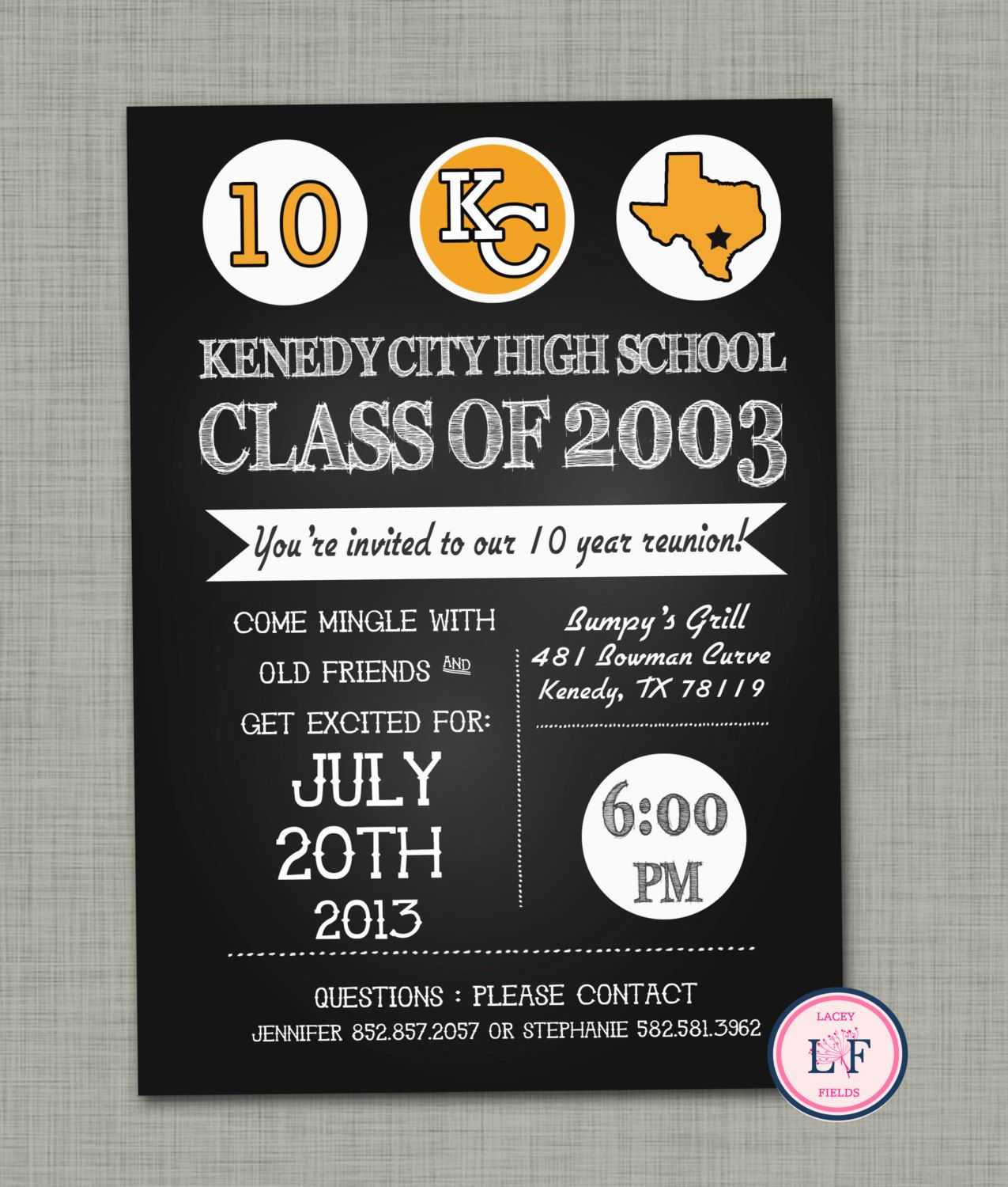 High School Reunion Invitation Printable Family By Laceyfields