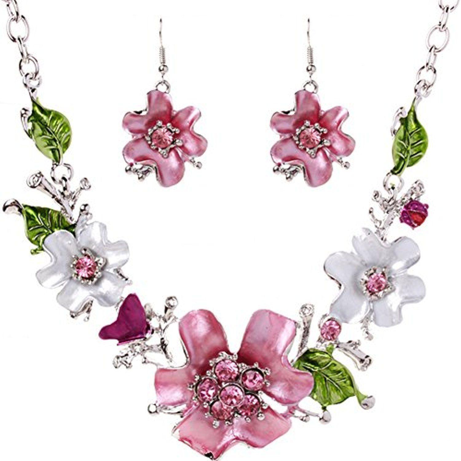 newest luxurious rhinestone painting fresh flower necklace and