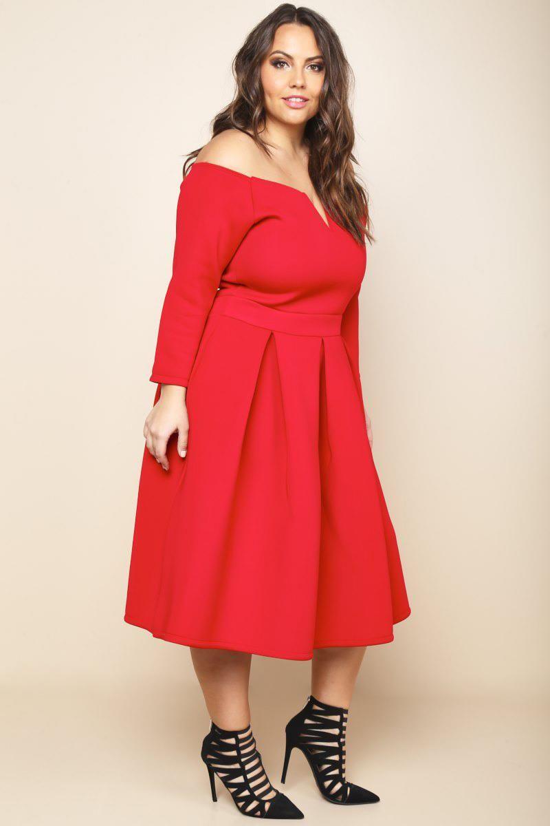 909a6044f89 Plus Size Pleated Off-Shoulder Midi Dress Dresses+ GS-LOVE ...