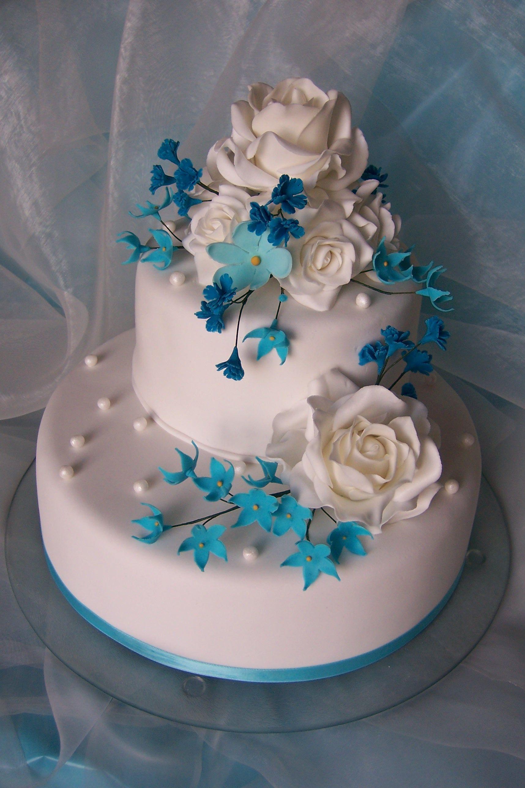 Hochzeitstorte In Blau Weiss Hochzeitstorte Pinterest