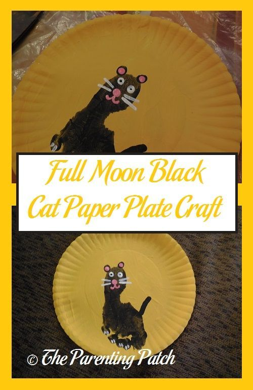 Full moons and black cats are synonymous with Halloween. Make a paper plate full moon and black cat craft with a paper plate and paint. & Full Moon Black Cat Paper Plate Craft | Paper plate crafts Black ...