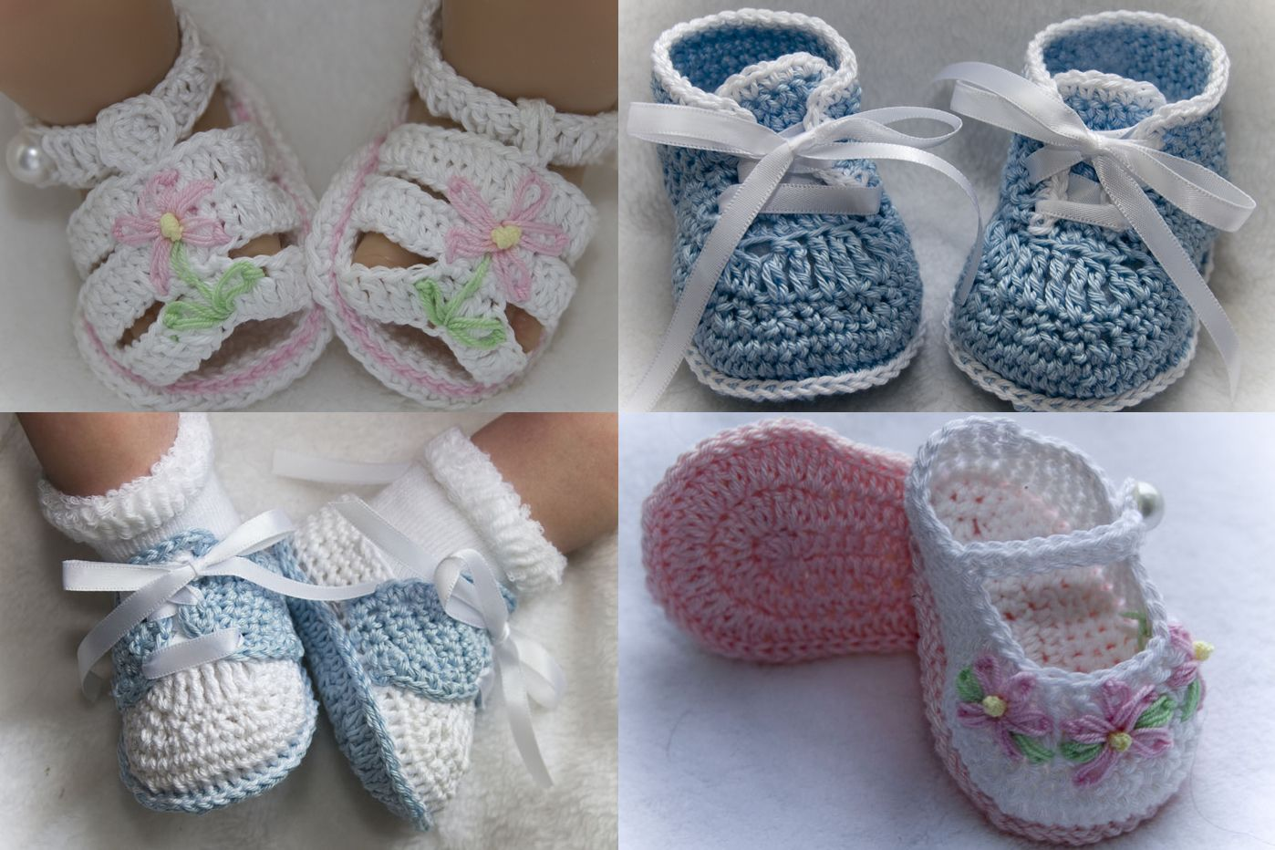 free+crochet+newborn+booties+pattern+fancy | Knitting Patterns for ...