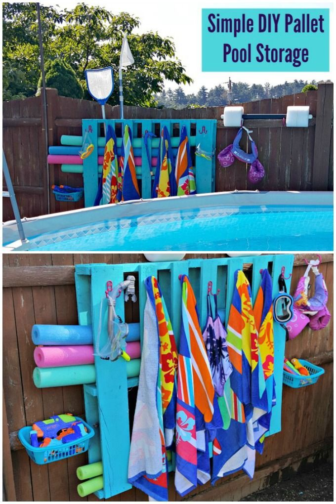 Simple DIY Pallet Pool Storage is part of Pallet pool, Pool storage, Diy pool, Pallet diy, Colorful backyard ideas, Backyard pool designs - Get all your pool gear organized, and add a pop of color to your backyard with this Simple DIY Pallet Pool Storage! tutorial summer
