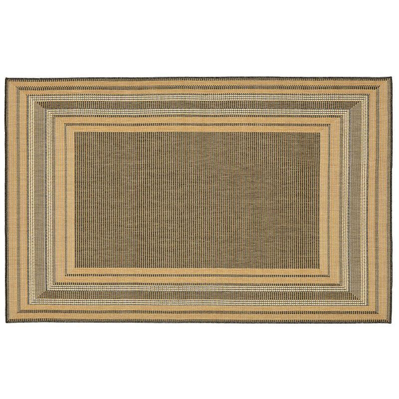 Trans Ocean Imports Liora Manne Terrace Etched Border Indoor Outdoor Rug, Natural