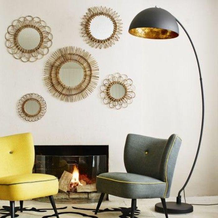 joli salon avec decoration murale originale lampadaire alinea pour le salon