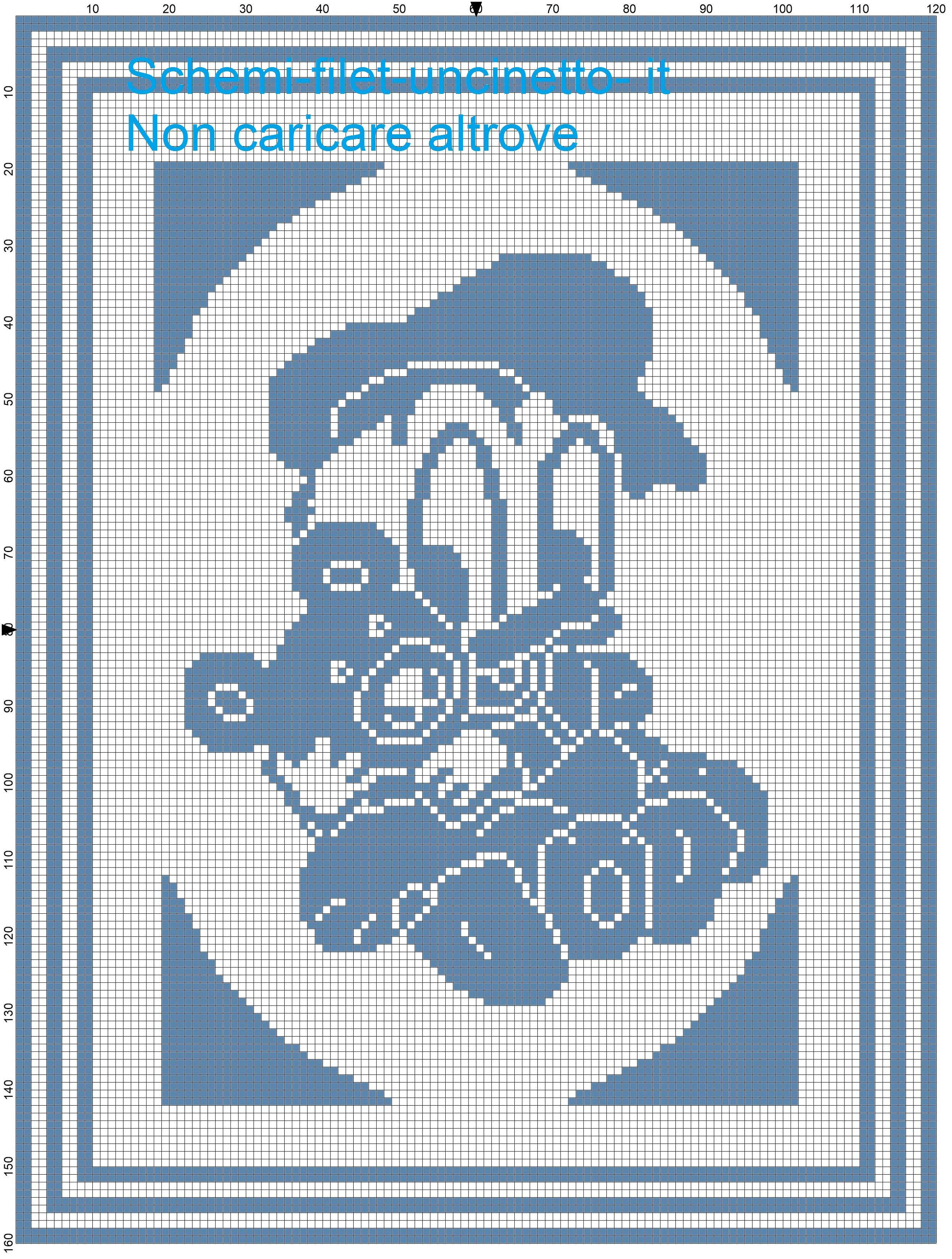 Copertina baby Paperino con orsetto schema filet uncinetto ...