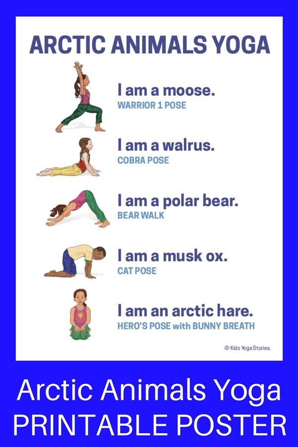 image about Yoga Poses for Kids Printable titled 11 Arctic Pets Yoga Poses for Children (Printable Poster