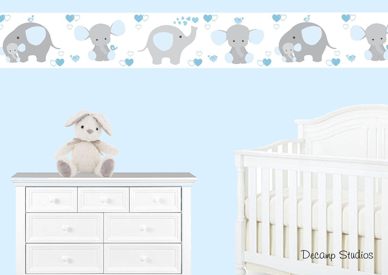 Blue Grey Elephant Nursery Baby Boy Wallpaper Border Wall Art