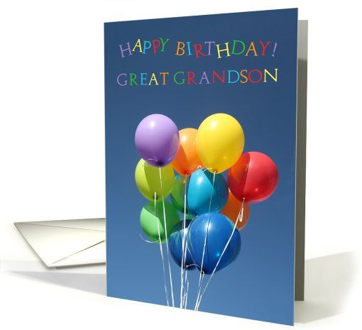 Birthday Card For Great Grandson Colored Balloons Card Pinterest