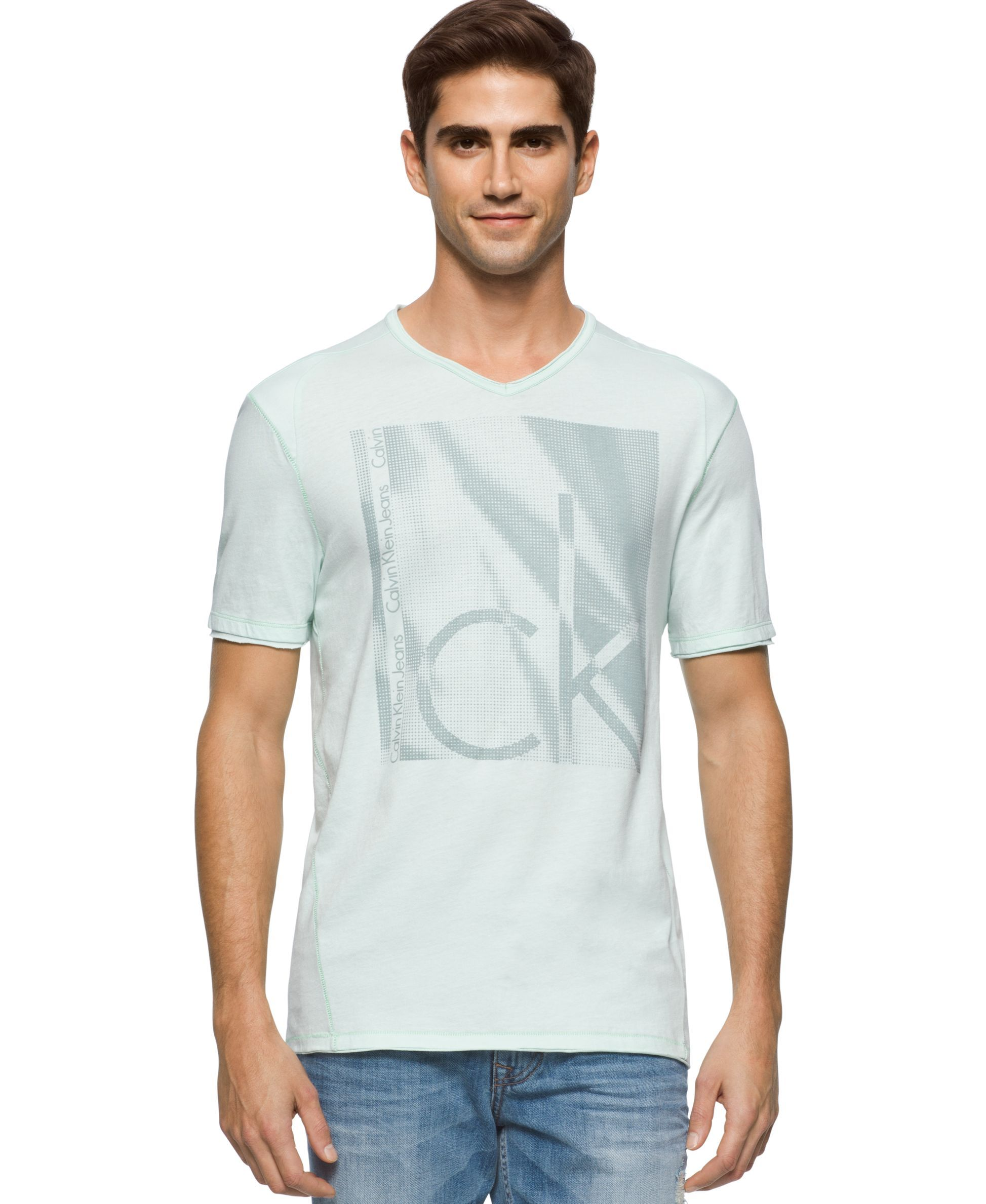 34539589eef0 Calvin Klein Jeans Men's Ck Box Texture Graphic-Print Logo V-Neck T-Shirt