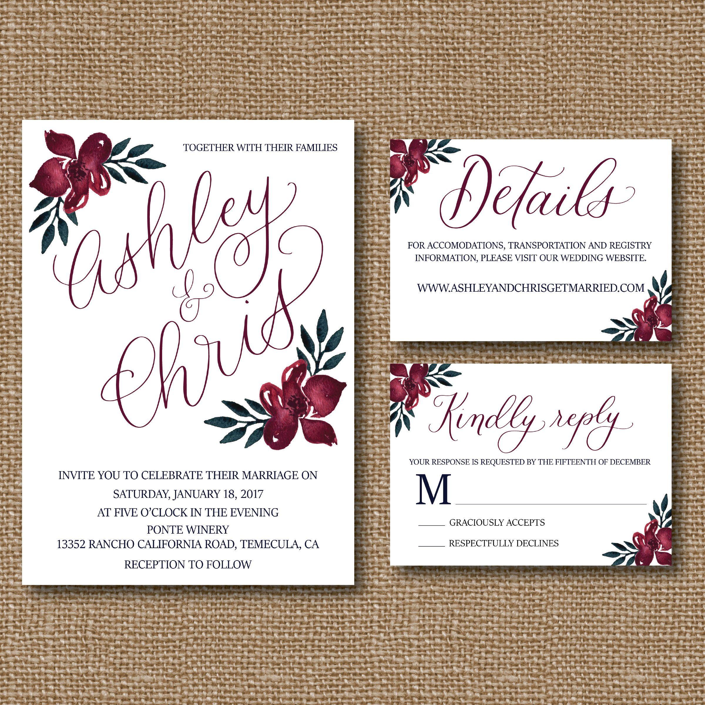 Merlot and Navy Floral Wedding Invitation Template - Invitation ...