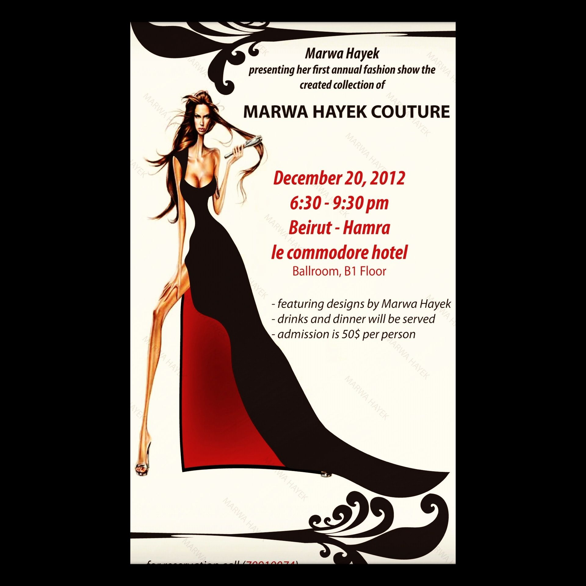 Marwa Hayek fashion show invitation card