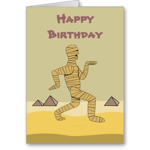 Funny Cartoon Egyptian Mummy Pyramids Custom Card – Egyptian Birthday Cards