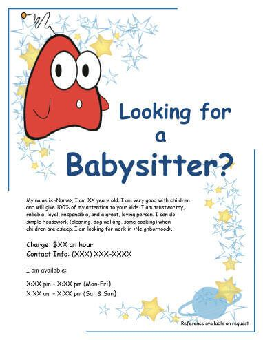 Babysitting Flyer With Funny Creature Abby And Chloes Babysitting