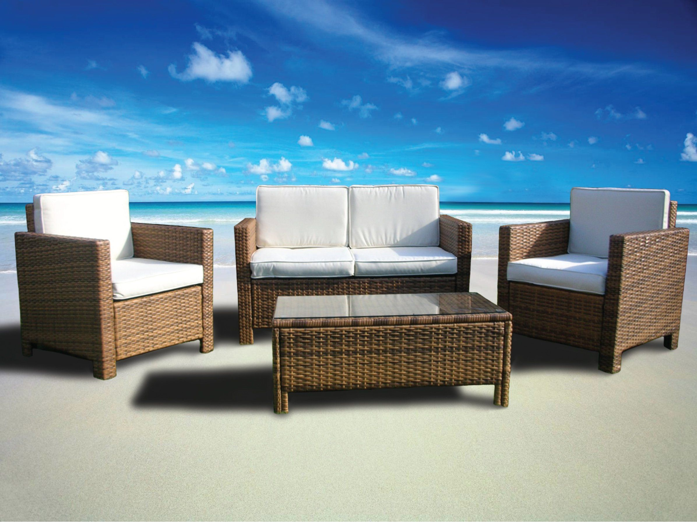 Enjoyable Miami Beach Collection 4 Pc Outdoor Rattan Wicker Sofa Inzonedesignstudio Interior Chair Design Inzonedesignstudiocom