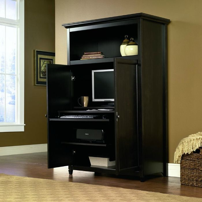 Space Saving Computer Armoire With Concealed Work Desk Computer