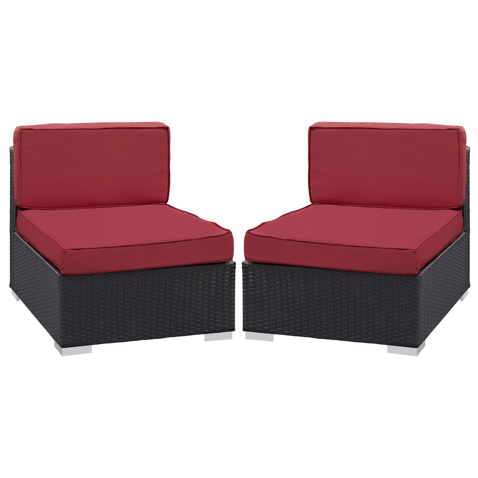 Plutus Brands MF1835 Armless Chair Outdoor Patio (Set Of 2), Espresso Red.