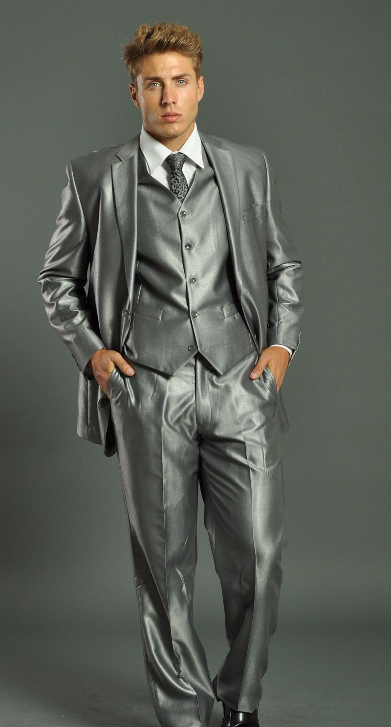 slim fit suits for men | Men's two Button Vested Shark Skin Light ...