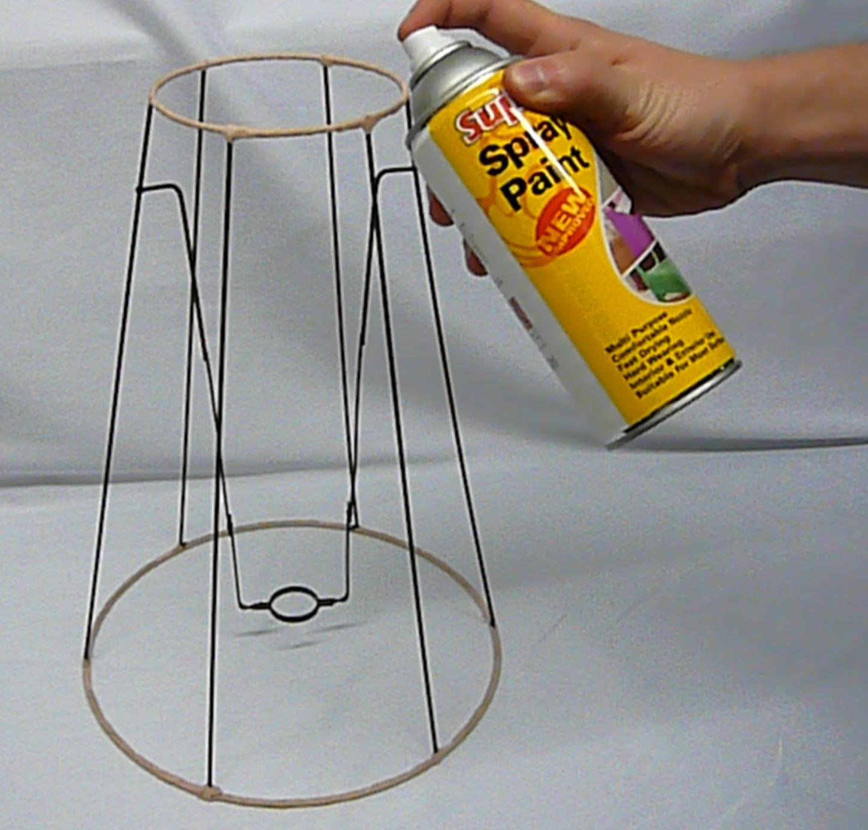 use any shape lamp shade frame and spray adhesive
