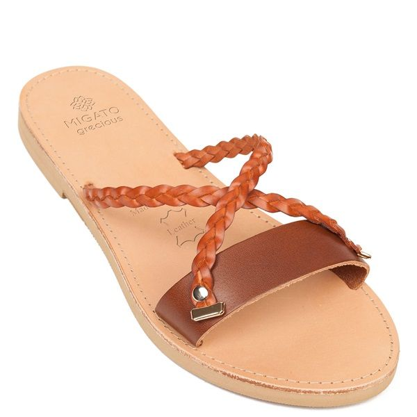 fcaed030702a Grecious is the new MIGATO s collection of leather sandals made in Greece.  Tobacco leather flat