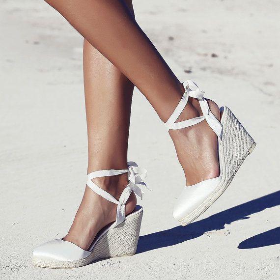 Bridal Espadrille Wedge Ivory And Satin Designer Shoe Wedding Shoes Ribbon Beach Boho Gypsy Queen