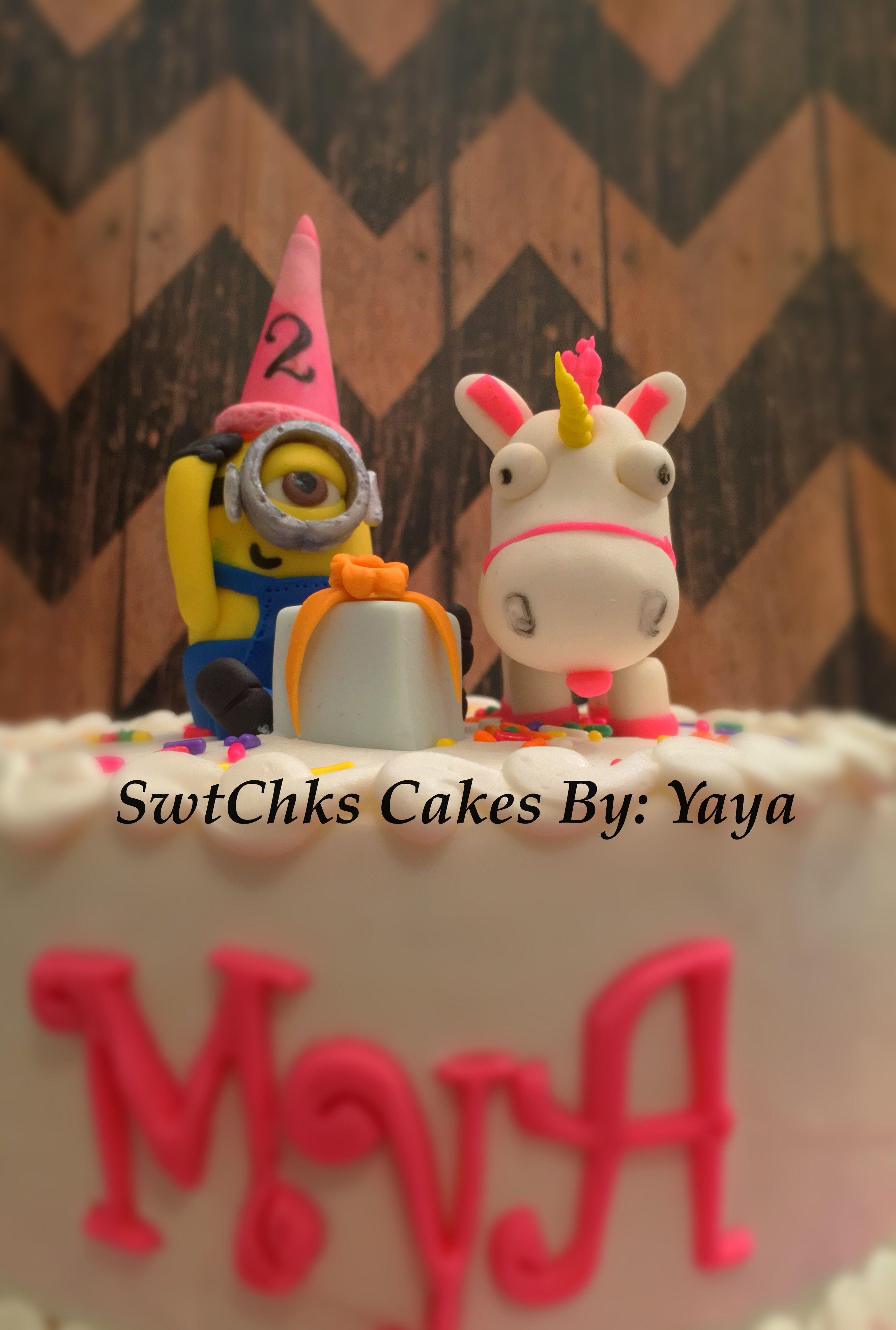 Minion and fluffy unicorn   Cake toppers, Fondant, Minions