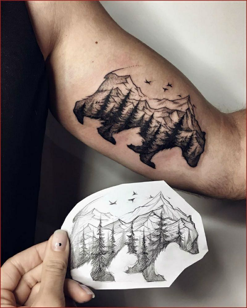 Photo of Tattoo forest and mountains man arm template