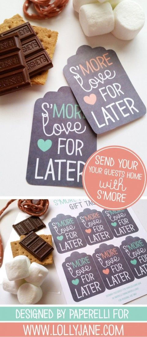 free printable wedding thank you cards with photo%0A Free printable smore tags  Send your guests home with some s u    more treats  after