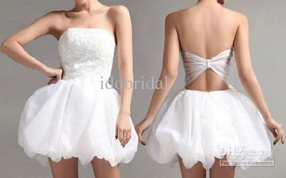 Actual image strapless cocktail dress white applique party ball